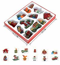 12 Traditional Wooden Christmas Tree Hanging Decorations Horse Train Drum Toys