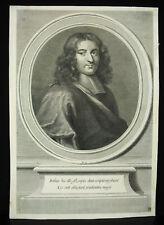 Pierre Bayle philosophe, écrivain protrait XVIIIe c1700 gravure originale