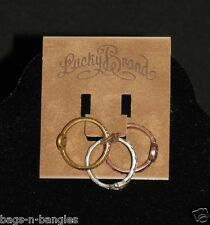 Genuine Lucky Brand Tricolor Peace Ring Set Silver Gold Rose Size 7 JLRU3327 NWT