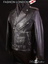 BRANDO Men's Bikers Jacket Motorbike Cruiser Cowhide Leather Jacket Black