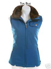 NILS SKI New VEST FAUX FUR Collar Womens 8 TEAL BLUE