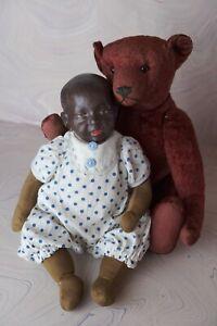 Early Antique Rare Kaiser Face Composition Black Baby Doll K*R Kammer Reinhardt