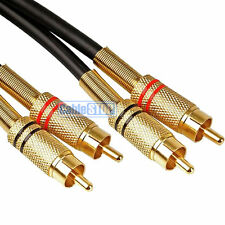 10M HQ PRO SUBWOOFER Cable Twin 2 RCA Phono PLUG Lead GOLD