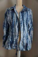 Zynergy by Chico's Lightweight Blue/White Zip Windbreaker Jacket Size 2