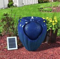 Gardenwize BLUE Outdoor Solar Ceramic Pot Urn Terracotta Water Fountain Feature