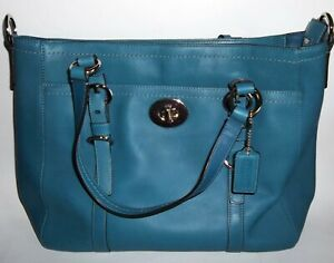 Coach F14015 Blue Leather Shoulder Bag Carry Handbag Purse