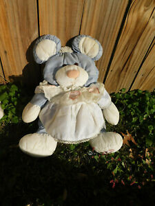 "1980's Vtg 16"" Puffalumps Gray Mouse w Lace heart Dress Fisher Price Nylon Plush"