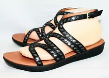 FITFLOP Strata Gladiator Sandal L45-001 Wo's 9 Black Studded Leather Ankle Strap