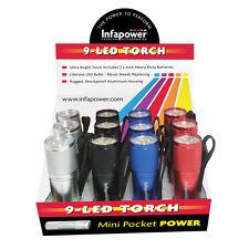 Infapower F007 - paquete de 12 linternas fluorescentes (9 LED)