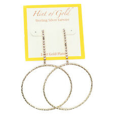 Gypsy Hoop Earrings Gold Sa00268-E02 Hint of Gold Crystal Pave