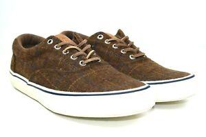 Sperry Top-Sider Striper II CVO Men's Brown Wool Plaid Sneaker Size 10 M