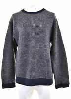 EDDIE BAUER Mens Crew Neck Jumper Sweater XL Navy Blue Check Wool Vintage EP02