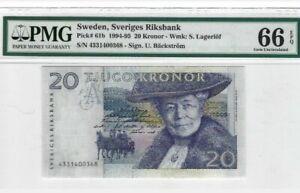 1994 -95 SWEDEN 20 Kronor PMG66 EPQ GEM UNC {P-61b}