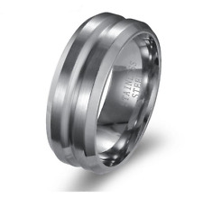 8MM 316L Stainless Steel Titanium Men Women Wedding Engagement Band Ring Size 11