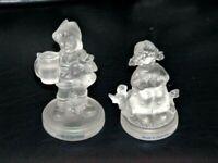 Goebel Lead Crystal Lot of 2 Hummel Frosted Boy & Girl Figurines 1992 Germany
