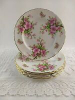 Vintage New Chelsea Salad Plate Set Pink Flowers Branches Staffs England 5 Piece