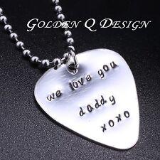 Personalised Name & Word Guitar Pick Necklace Valentine's Father's Day Gift D110