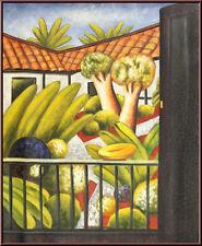 "Fernando Botero Style ""Der Garten""  Öl auf Leinwand 50x60cm Ölgemälde Gemälde"