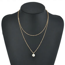 Women Charm Pearl Choker Chunky Statement Bib Necklace Jewelry Chain Pendant New