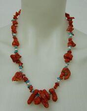 Collana in Corallo antico sardo Turchese e Perline vintage OMA19