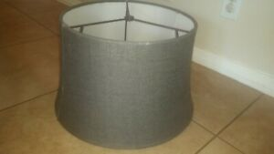 Pottery Barn Tapered Charcoal gray Burlap Lamp Large shade drum