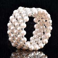 Handy Women's Multi-layer White Faux Pearl Rhinestone Beaded Elastic Bracelet