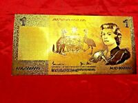 SILVER /& COLOURED GOLD 2001 LIMITED NOTE 3 24K GOLD $5 AUSTRALIA BANKNOTE