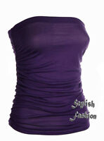 S247 New Women's Ladies Sleeveless Boobtube Bandeau Strapless Ruched Vest Top