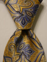 STEFANO RICCI Luxury Collection Silk XL Necktie ITALY Luxury Yellow/Blue EUC