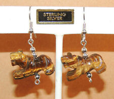 Sterling Silver and Tiger's Eye Tiger Wire Earrings (9615)