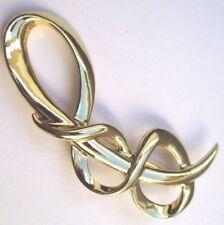 broche bijou rétro désign relief couleur or poli brooch vintage gold tone * 2516