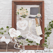 WEDDING PHOTO BOOTH PROPS - Rose Gold Floral Theme (B9)