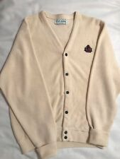 VINTAGE IZOD Mens Off White Cardigan Sweater-Size Large-Made in U.S.A.-EUC