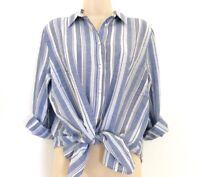 Ann Taylor Loft Womens Linen Blue White Striped Button Shirt Blouse Top XS S M L