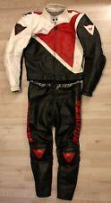 2-tlg. Lederkombi Dainese Gr. 50 Motorradkombi Schwarz Rot Weiß Leather Suit