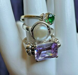 3 Sterling Silver Gemstone Rings Lot Collection Sz8 Emerald Amethyst Mabe Pearl