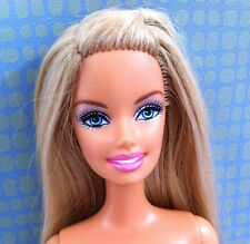 Barbie Doll Teal Blue Eyes Blonde Highlights Belly Button Open Smile Nude Ooak