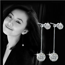 Women's Fashion 925  Silver Plated Earrings Full Crystal Long Tassel Earrings