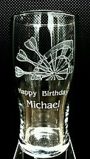 PERSONALISED ENGRAVED DARTS PINT GLASS  BIRTHDAY GIFT INC NAME/MESSAGE