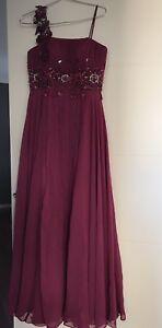 Beautiful Chiffon Hand Made Formal  Dress Size 8 , Maroon Colour