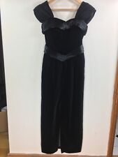 Vintage Laura Ashley Black Dress Velvet Column Cocktail Ballgown UK10-12 (AU)