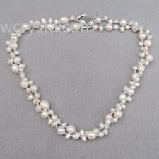 "Elegant White Freshwater Pearl Glass Seed Beads Necklace 35"" Long"