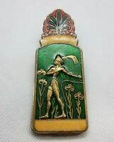 Vintage Greece Art Deco Ornate Man Bull Heavy Enamel Brass Clip