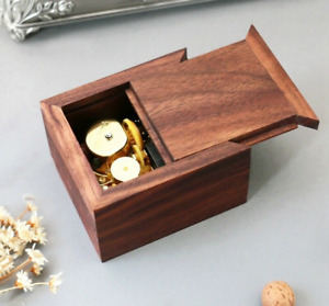 WALNUT  WOODEN  SLIDE WIND UP MUSIC BOX  ♫ MY NEIGHBOR TOTORO  ♫