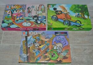 Milton Bradley Vintage Puzzle 60 100 pc lot of 3 Ghostbusters Uncle Wiggly Story