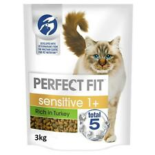 More details for 3kg perfect fit 1+ adult complete dry sensitive cat food turkey (4 x 750g)