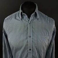 Lacoste Mens Shirt 39 (SMALL) Long Sleeve Blue Regular Fit Striped Cotton