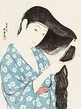 Giappone culturale storia HASHIGUCHI GOYO GIRL PETTINE Poster Art Print Picture bb726a