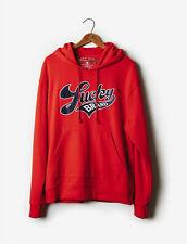Lucky Brand Vintage Totally Varsity Script Men's Hoodie Sweatshirt Red $80 NEW M