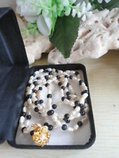GORGEOUS! Vintage 2-Strand Rice Pearl & Black Beads Choker Necklace